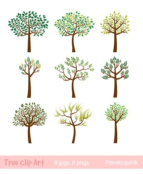 Tree Clipart Whimsical Tree Clip Art Spring Tree Summer Tree Clip Art