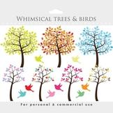 Tree clipart - tree clip art whimsical, cute, sweet, birds, bird, leaves, summer