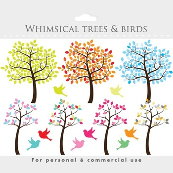 Tree clipart - tree clip art whimsical, cute, sweet, birds, bird, leaves, summer