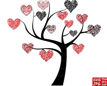 Tree heart Silhouette Floral SVG Clip Art Valentine's Day love back wedding -58S
