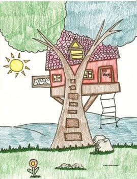 Elementary Visual Art Project - Tree house
