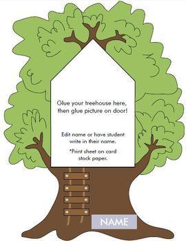 Tree house printable activities door theme decor