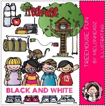 Treehouse fun clip art - BLACK AND WHITE- by Melonheadz