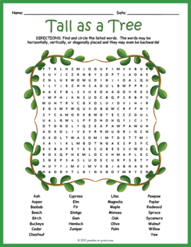 Types of Trees Word Search Puzzle