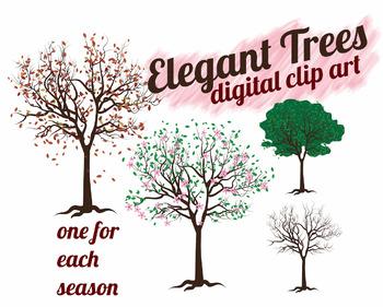 Trees Clip Art- Seasons - Elegant Winter, Autumn, Spring, and Summer Trees
