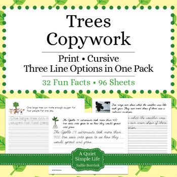 Trees Unit – Copywork - Print and Cursive - Handwriting