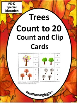 Kindergarten Math Centers Counting to 20 Clip Task Cards S