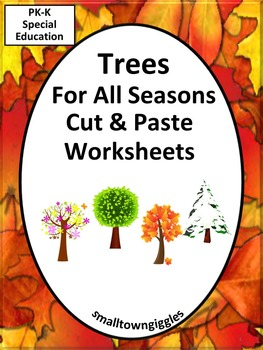 Trees,Fall Cut and Paste Activities,Fall Activities Math and Literacy,Special Ed