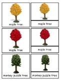 Trees Montessori 3-part cards--Safari Trees Toob