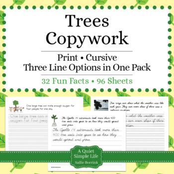 Trees Unit - Print - Copywork - Handwriting