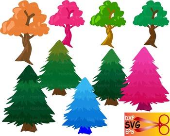 Trees Silhouette EPS SVG DXF school cutting xmas arbor biology monogram CUT -20S
