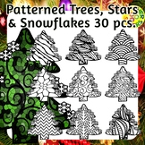Trees, Stars and Snowflakes Coloring Clip Art Set Commerci