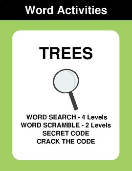 Trees - Word Search Puzzle, Word Scramble,  Crack the Code