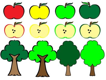 Apples and Trees Clip Art.