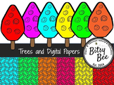 Trees and Digital Paper.(Bitsy Bee Clip Art)