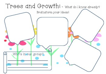 Trees and Growth Brainstorm Sheet