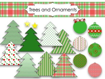 Trees and Ornaments Clip Art
