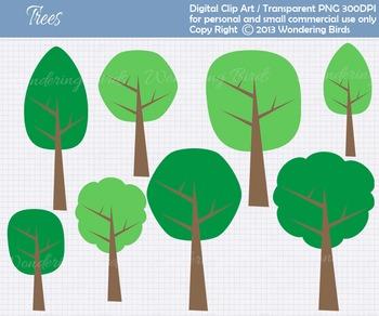 Trees clip art - set of 8 clip arts