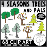 Four Seasons Trees and Pals Clip Art Bundle + Coloring Pages