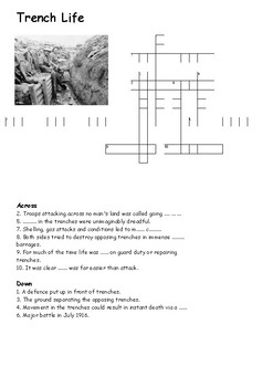 Trench Life Cross Word - World War One