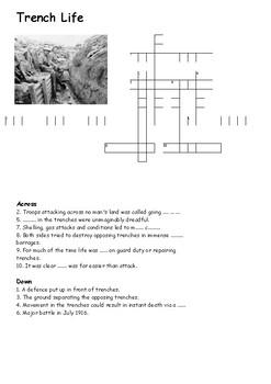Trench Life Cross Word - World War One