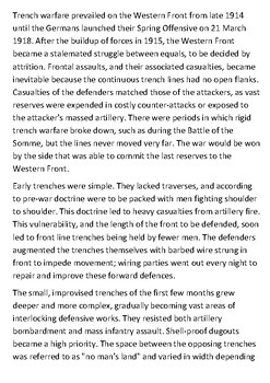 Trench warfare Handout