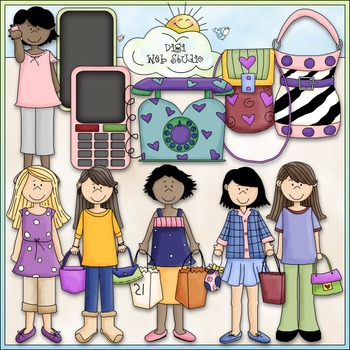 Trendy Teens Clip Art Bundle - 2 Clip Art & B&W Sets