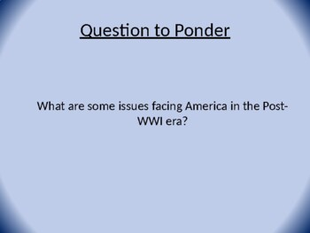 Trends in Post WWI America PowerPoint  and Activity