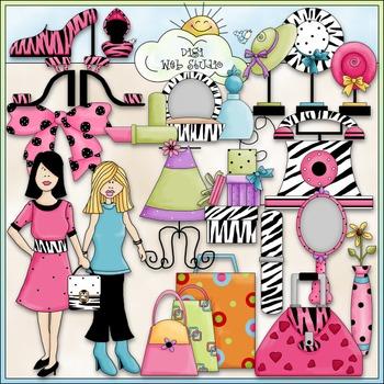 Trendsetters Clip Art 1 - Makeup - Purses - Fashion Clip Art - CU Clip Art & B&W