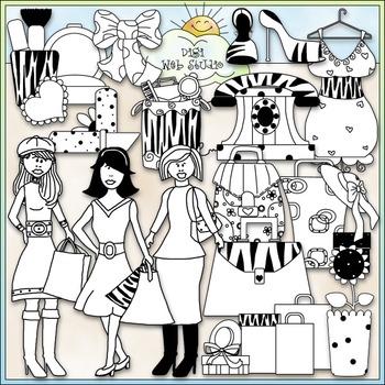 Trendsetters Clip Art 2 - Fashion Clip Art - Makeup - Shoes - CU Clip Art & B&W