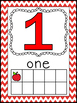 Chevron Apple Themed Number Posters 1-20 with Ten Frames