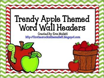 Chevron Apple Themed Word Wall Headers