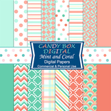 Trendy Coral and Mint Digital Background Papers