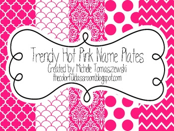 Trendy Hot Pink Name Plates
