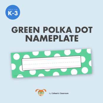Trendy Nameplate - Green Polka Dot