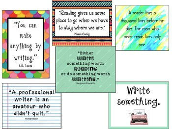 Trendy Reading and Writing Quote Posters