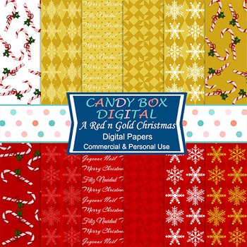Red and Gold Christmas Digital Background Papers