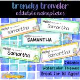 Trendy Traveler Watercolor Editable Nameplates