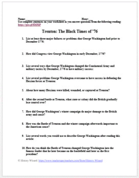 Trenton: The Black Times of '76 American Revolution Worksheet