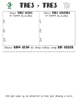 Tres y Tres: Spanish Noun/Adjective Game to practice gender and number