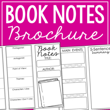 Note Taking Bookmark Template for Any Novel - Two Sided Graphic Organizer