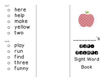 Tri-Fold Sight Word Sticker Books