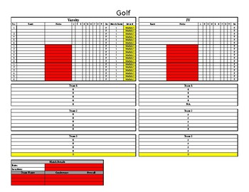 Tri-Meet Golf Scoring Sheet