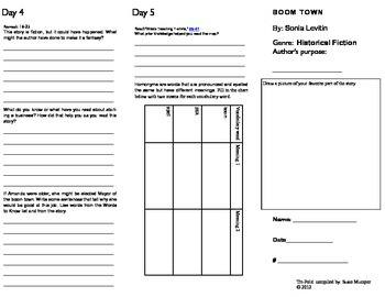 Tri-fold student conected practice activity for Boom Town