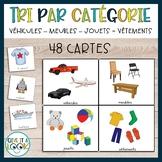 Tri par categorie (véhicules, meubles, jouets, vêtements)