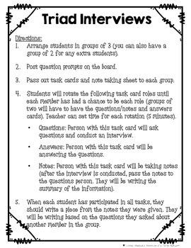 Triad Interviews {Back-to-School Activity}