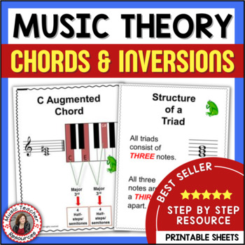 Music Theory Chords And Inversions Explained Music Worksheets Tpt