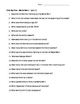 Trial by Fire History Channel Movie Worksheet