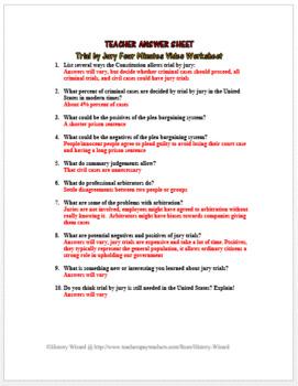 Trial by Jury Four Minutes Video Worksheet