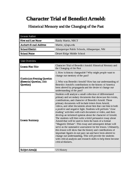 Trial of Benedict Arnold: Historical Memory and the Changing of the Past